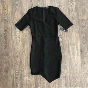 Lulus Black V-Neck Asymmetrical Dress NWT